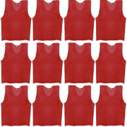 SAS Sports Training Bibs Scrimmage Vests Pennies for Soccer - Extra Large size (72 x 62cm) Maroon color Set of 12