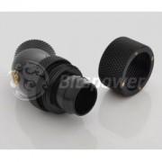 Fiting compresie dublu rotativ 45 grade alama Bitspower 1/4inch la 16/13mm, Matte Black