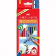 Creioane Colorate Junior Grip 30 culori + Ascutitoare Faber-Castell