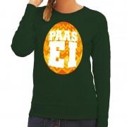 Bellatio Decorations Paas sweater groen met oranje ei voor dames