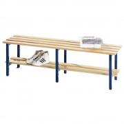 Garderobenbank mit Holzleisten, ohne Lehne mit Schuhrost, Länge 1500 mm Gestell kobaltblau