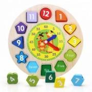 Joc Educativ Copii Ceas din lemn Forme Geometrice si Cifre Engleza