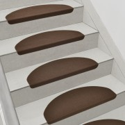 Комплект от 15 броя самозалепващи се килими (стелки) за стълби[en.casa]®, 280 g/m² , Полукръг, Кафяв