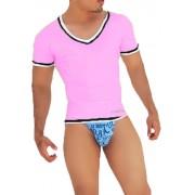Icker Sea Contrast Trim V Neck Short Sleeved T Shirt Pink/Black CA-16-21