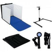 Kit cort fotografie 60cm x 60cm + suport camera foto + 2 x Lampa Halogen 5100K Daylight 50 Watt – Photo studio in a Box