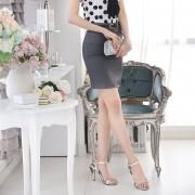 EH Alta Cintura Mujeres Oficina Faldas Faldas Lápiz Casual Sexy Slim Skirt Volver Split 4XL - Gris