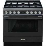 Cocina Smeg CPF9GMAN Negro Horno Gas Natural 6 Fuegos