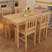 vidaXL Fa Étkező Asztal 4 Székkel / étkező garnitúra Természetes