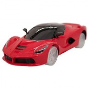TECHEGE Toys Red Colored FerrariStyle Super Car Bump'n'Go Self Driving Realistic Sounds Flashing Lights