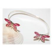 Bracelet Papillon Enfant Rose Argent