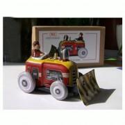 Prettyia Wind Up Tin Toy Bulldozer Tractor Driver Building Construction Work Scene Model