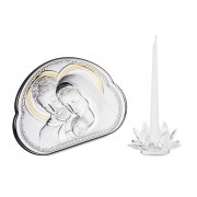 Cadou Valenti Argint Icoana si Suport de Lumanare Made in Italy