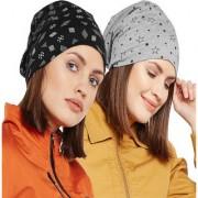 Vimal-Jonney Printed Black And Printed Melange Grey Beanie Cap For Women(Pack Of 2)