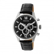 Heritor Automatic Benedict Leather-Band Watch w/ Day/Date - Silver/Black HERHR6802