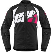 Icon Automag2 Women's Motorcycle Jacket Black White Pink L