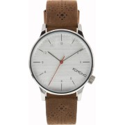 Pánské hodinky stříbrné s hnědým koženým páskem Komono Winston Walnut