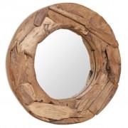 vidaXL Decorative Mirror Teak 60 cm Round