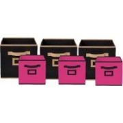 Billion Designer Non Woven 6 Pieces Small & Large Foldable Storage Organiser Cubes/Boxes (Black & Pink) - CTKTC35364 CTKTC035364(Black & Pink)