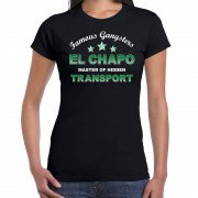 Bellatio Decorations Famous gangsters El Chapo tekst t-shirt zwart dames S - Feestshirts