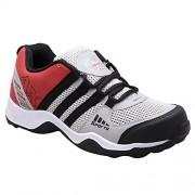 AeroFax Men's Light Gray Black Red lace up sport Shoes