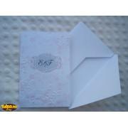 Invitatie de nunta handmade, cu model embosat de cireş