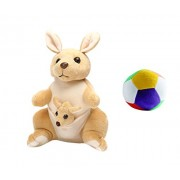 JRP Mart Kangaroo Mother With Baby Stuffed Soft Plush Toy Kids Birthday 25 CM and Little Ball