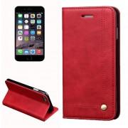 Para IPhone 8 Y 7 Retro Caballo Loco Textura Adsorción Horizontal Magnética Funda De Cuero Flip Con Ranura De La Tarjeta Y El Titular Y La Cartera (rojo)