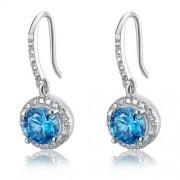 Ezüst fülbevaló, türkiz színű szimulált gyémánt kristállyal - 925 ezüst ékszer