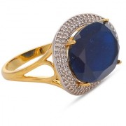 Tistabene Retails Contemporary Designer Oval Blue Stone Two Tone Plated Cocktail Ring For Women and Girls (RI-0678)