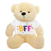 Peach 2 feet Big Teddy Bear wearing a BFF T-shirt