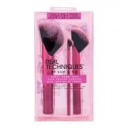 Real Techniques Brushes Rebel Edge™ Trio sada kosmetický štětec na bronzer 1 ks + kosmetický štětec na rozjasňovač 1 ks + kosmetický štětec na oční stíny 1 ks