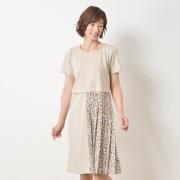 NbyA ランダムドットプリーツ異素材ワンピース【QVC】40代・50代レディースファッション