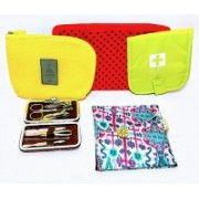 Must Visit Very Useful For Any Time Sanitary Pouch,Polyester Silk Material Pouch,Pedicure Manicure Set,First Aid Pouch,Cable Pouch, Easy To Carry Travel Kit.(Multicolor)