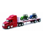 New Ray 1:32 387 Peterbilt Flatbed Trailer with Two Farm Tractors, Multi Color