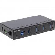 Manhattan 161411 4 ulaza USB 3.0 Hub Metalno kućište, Industrijska primjena, Za zidnu montažu Crna