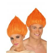 Deguisetoi Perruque troll orange adulte