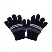 kids winter woolen black gloves