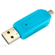 SUREELEE USB 2.0 + Micro USB OTG SD T-Flash Adapter for Cell Phone PC Card Reader (BLUE)