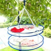 D S 1 PC Double Layer Clothes Drying Basket Hanging Windproof Laundry Mesh Net Bag 50 Cms (Random Color)