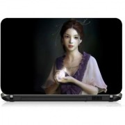 VI Collections GIRL WITH DOVE PRINTED VINYL Laptop Decal 15.5