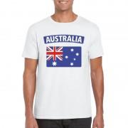 Bellatio Decorations T-shirt met Australische vlag wit heren