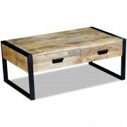 vidaXL Masă cafea cu 2 sertare din lemn solid de mango, 100x60x40 cm