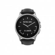 Vector Luna Brushed Steel Black Padded Leather Small Fit - луксозен Bluetooth тъч часовник за iOS и Android смартфони (черна кожена каишка)