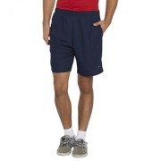 BONATY Navy Blue Polyester With Moisture Management Solid Short With Piping For Men
