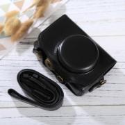 Full Body Camara Caja De Cuero De La PU Bolsa Con Correa Para Canon PowerShot Sx730 HS / Sx720 HS (negro)
