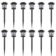 vidaXL Комплект соларни градински LED лампи с клин, 8.6 х 8.6 х 38 см – 12 бр