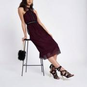 River Island Womens Dark Red crochet high neck midi dress (Size 12)