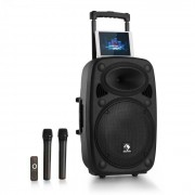 "Auna Streetstar 2.0 15 Mobile PA-Anlage 15"" Subwoofer Trolley Display BT USB/SD/MP3 Line-Out AUX 2xUHF-Funkmikrofone Fernbedienung 1000 Watt max."