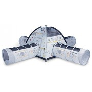 Pacific Play Tents Space Station Tent and 4' Tunnel Combo, White/Multi