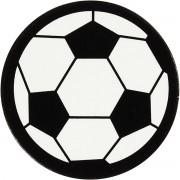 Label, wit/zwart, d: 25 mm, voetbal, 20stuks